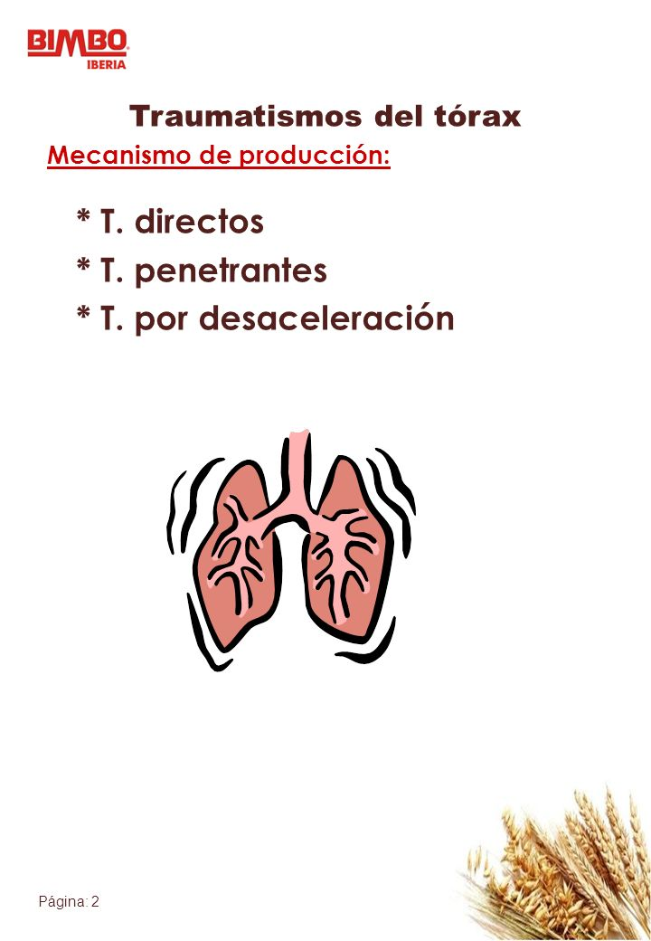 Página: 2 Traumatismos del tórax Mecanismo de producción: * T. directos * T. penetrantes * T. por desaceleración