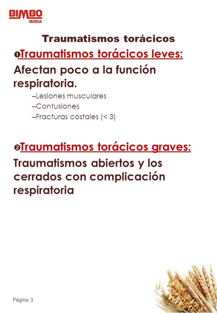 Página: 3 Traumatismos torácicos Traumatismos torácicos leves: Afectan poco a la función respiratoria. – Lesiones musculares – Contusiones – Fracturas