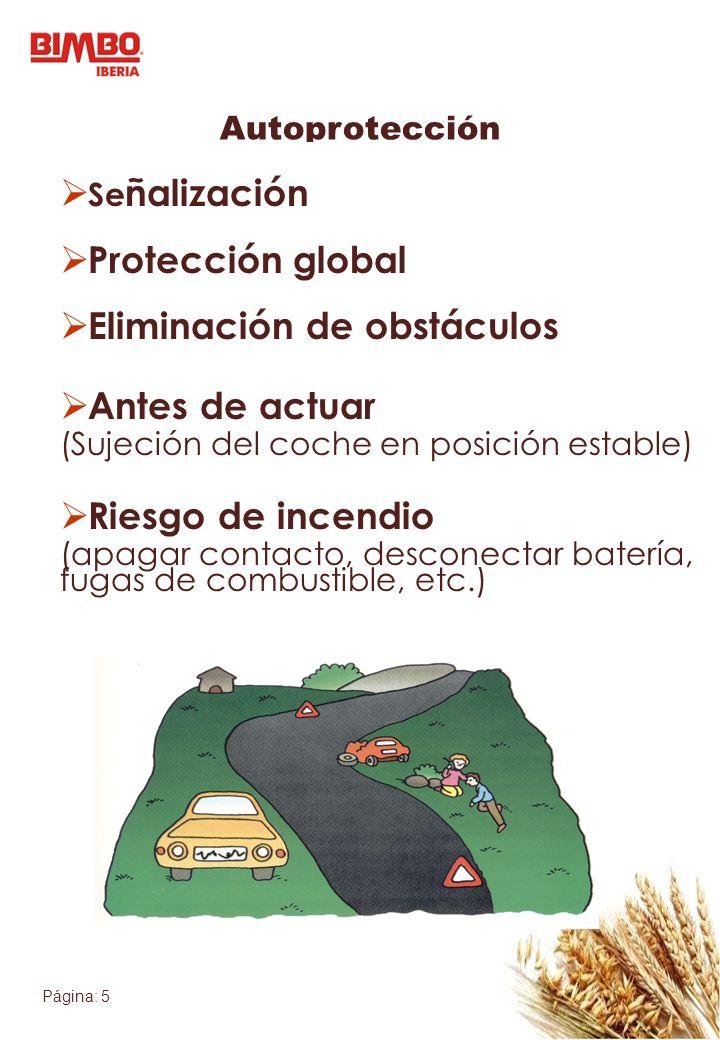 Página: 5 Autoprotección Se ñalización Protección global Eliminación de obstáculos Antes de actuar (Sujeción del coche en posición estable) Riesgo de