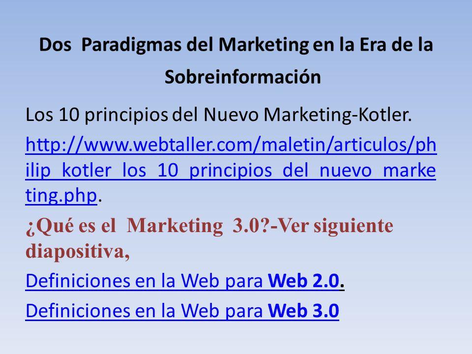 Dos Paradigmas del Marketing en la Era de la Sobreinformación Los 10 principios del Nuevo Marketing-Kotler. http://www.webtaller.com/maletin/articulos