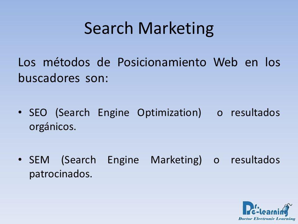 Search Marketing Los métodos de Posicionamiento Web en los buscadores son: SEO (Search Engine Optimization) o resultados orgánicos. SEM (Search Engine