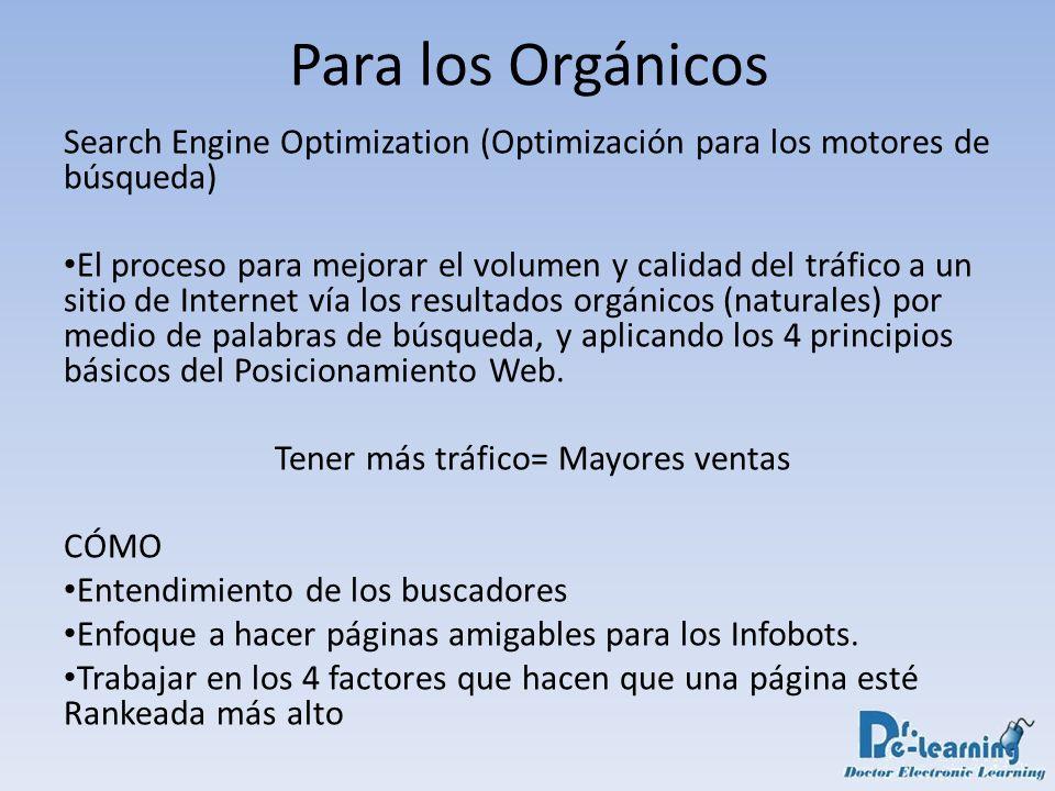 Para los Orgánicos Search Engine Optimization (Optimización para los motores de búsqueda) El proceso para mejorar el volumen y calidad del tráfico a u