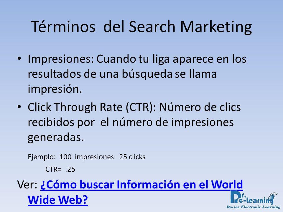 Términos del Search Marketing Impresiones: Cuando tu liga aparece en los resultados de una búsqueda se llama impresión. Click Through Rate (CTR): Núme