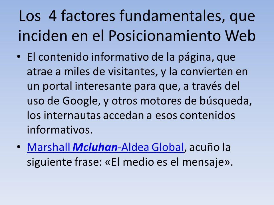 Los 4 factores fundamentales, que inciden en el Posicionamiento Web El contenido informativo de la página, que atrae a miles de visitantes, y la convi