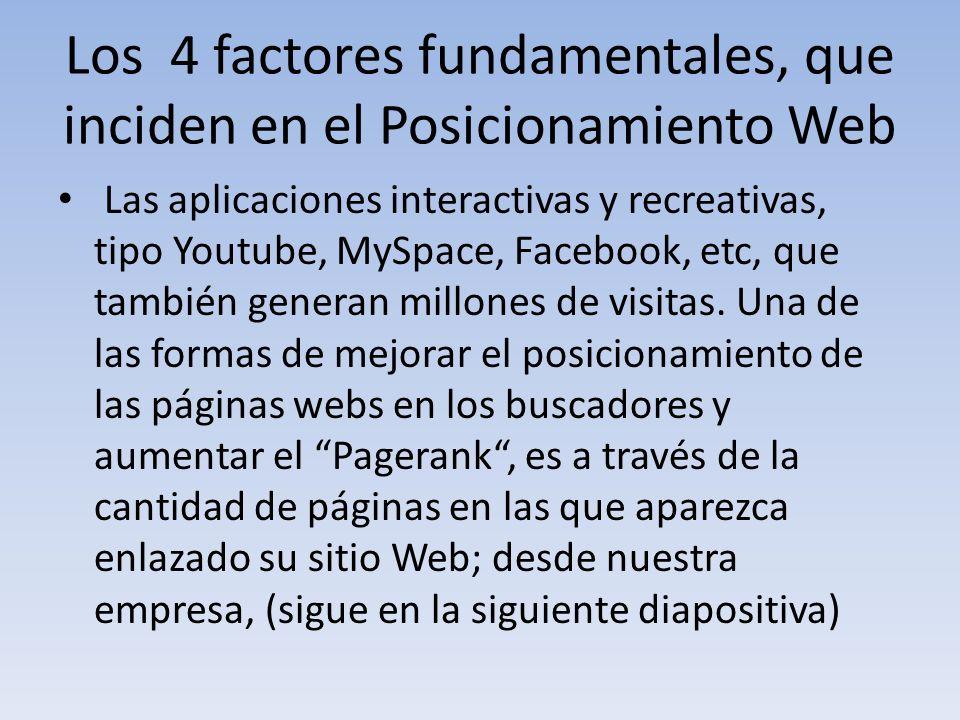 Los 4 factores fundamentales, que inciden en el Posicionamiento Web Las aplicaciones interactivas y recreativas, tipo Youtube, MySpace, Facebook, etc,