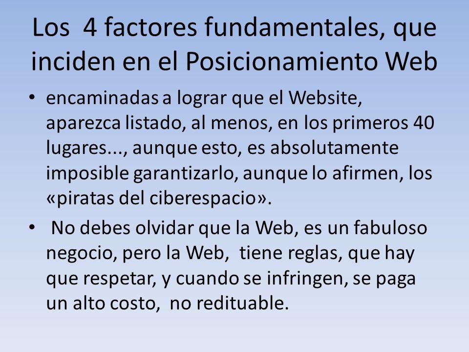Los 4 factores fundamentales, que inciden en el Posicionamiento Web encaminadas a lograr que el Website, aparezca listado, al menos, en los primeros 4