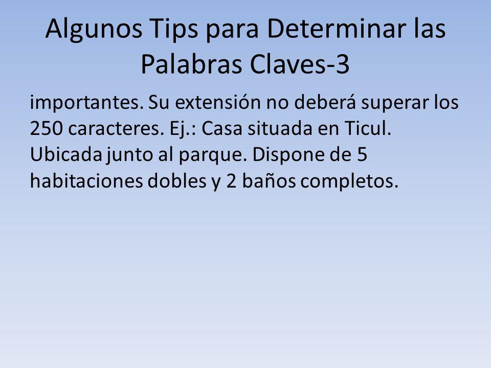 Algunos Tips para Determinar las Palabras Claves-3 importantes. Su extensión no deberá superar los 250 caracteres. Ej.: Casa situada en Ticul. Ubicada