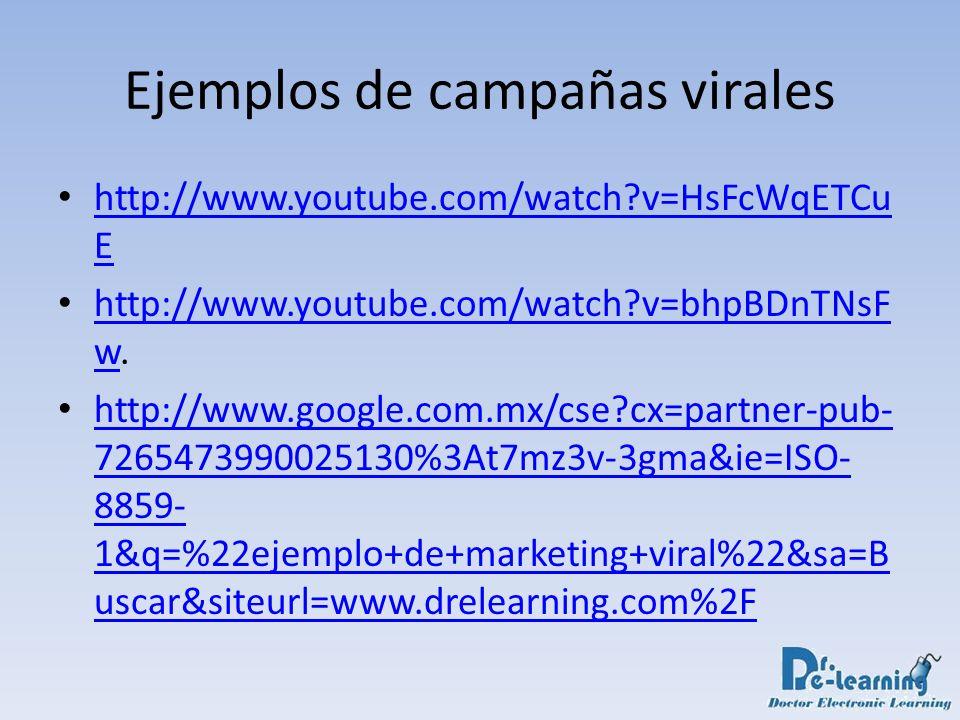 Ejemplos de campañas virales http://www.youtube.com/watch?v=HsFcWqETCu E http://www.youtube.com/watch?v=HsFcWqETCu E http://www.youtube.com/watch?v=bh