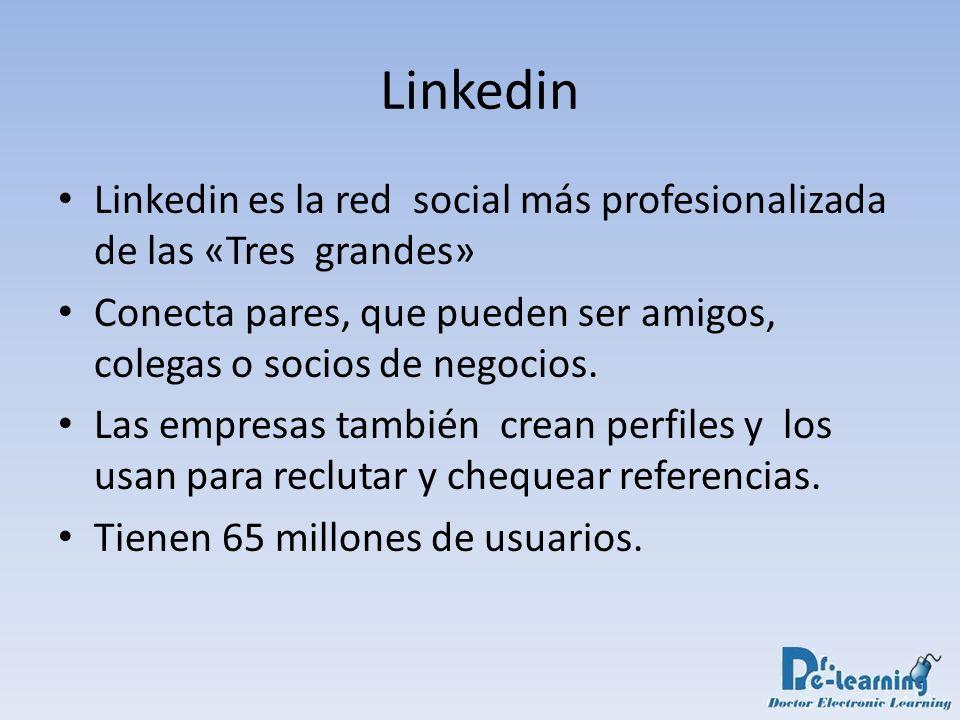 Linkedin Linkedin es la red social más profesionalizada de las «Tres grandes» Conecta pares, que pueden ser amigos, colegas o socios de negocios. Las