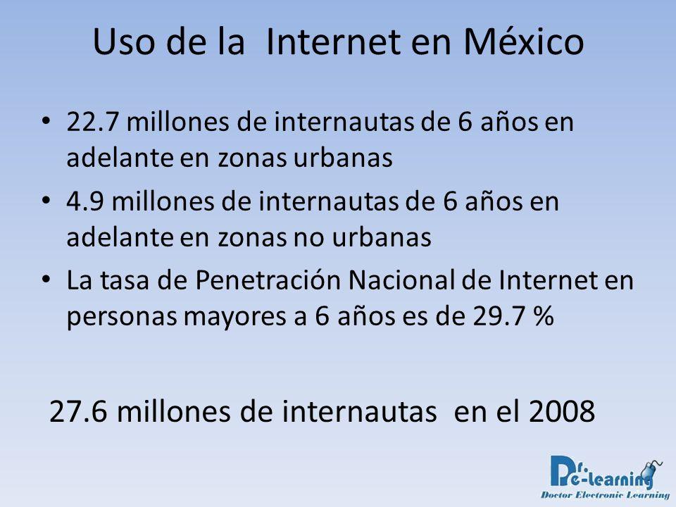 Base instalada de dispositivos con disponibilidad de acceder a Internet en México – Computadoras personales en México (PCs): 18.2 millones – Número de computadoras con acceso a Internet en México: 11.3 millones – Teléfonos móviles: 73.6 millones Uso de la Internet en México 62 % de las PCs instaladas en México están conectadas a Intenet