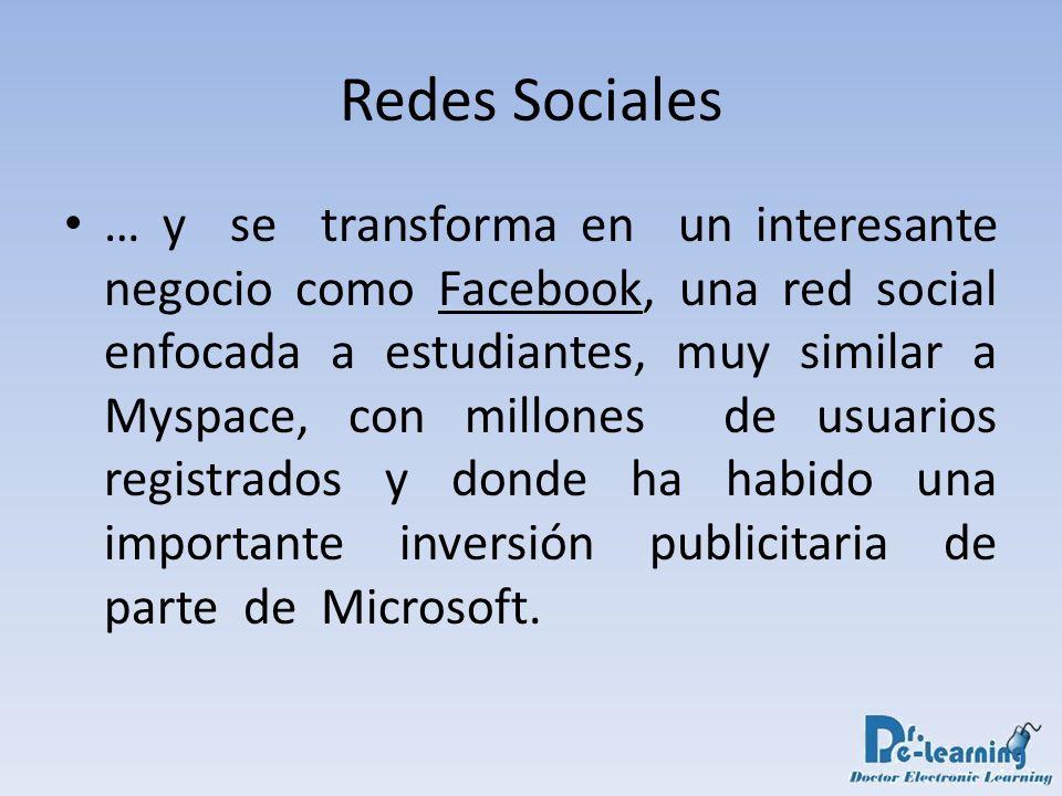 … y se transforma en un interesante negocio como Facebook, una red social enfocada a estudiantes, muy similar a Myspace, con millones de usuarios regi