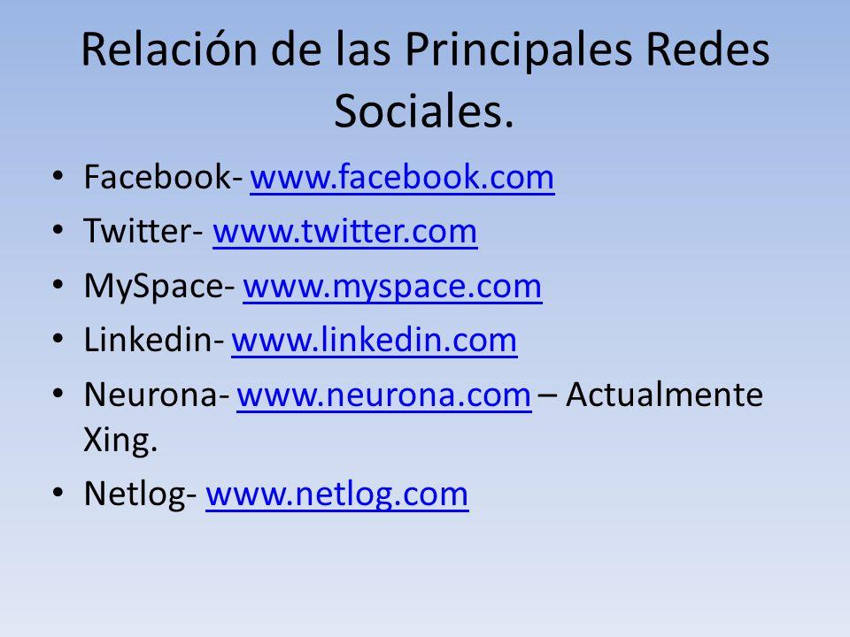 Relación de las Principales Redes Sociales. Facebook- www.facebook.comwww.facebook.com Twitter- www.twitter.comwww.twitter.com MySpace- www.myspace.co