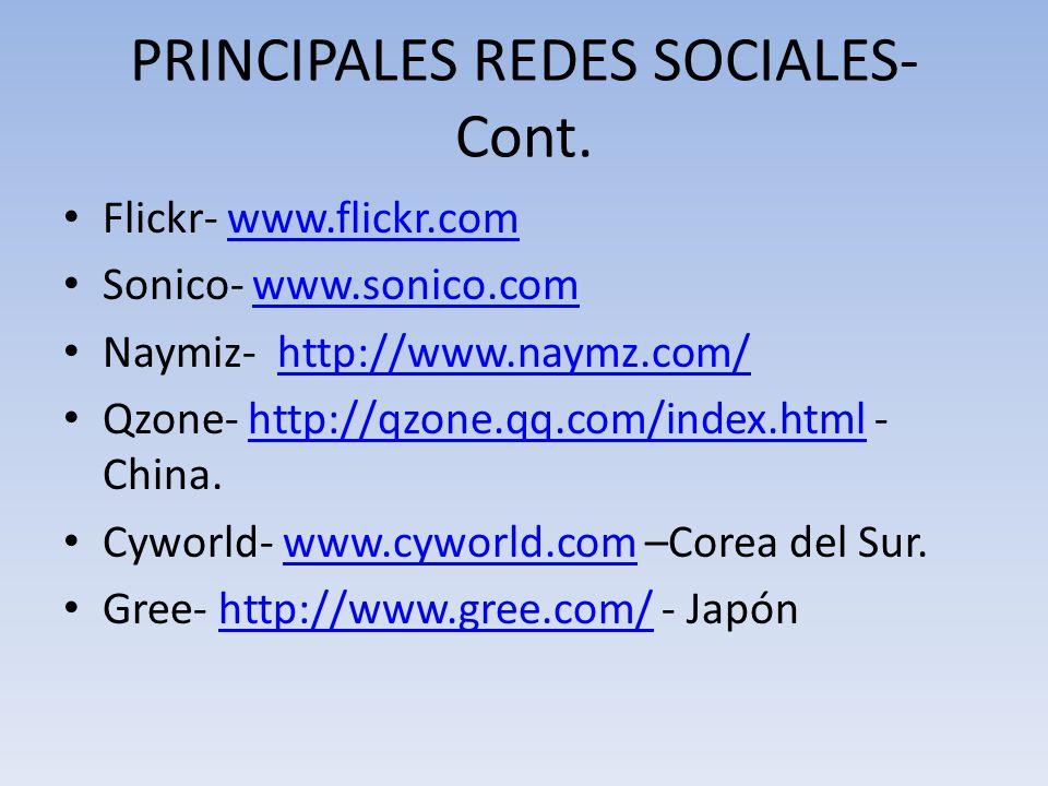 PRINCIPALES REDES SOCIALES- Cont. Flickr- www.flickr.comwww.flickr.com Sonico- www.sonico.comwww.sonico.com Naymiz- http://www.naymz.com/http://www.na