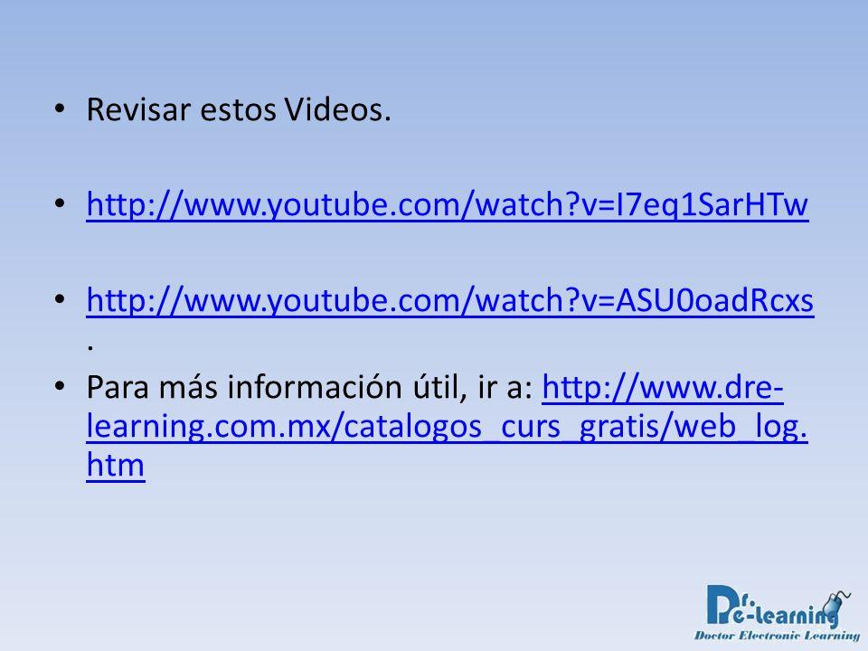 Revisar estos Videos. http://www.youtube.com/watch?v=I7eq1SarHTw http://www.youtube.com/watch?v=ASU0oadRcxs. http://www.youtube.com/watch?v=ASU0oadRcx