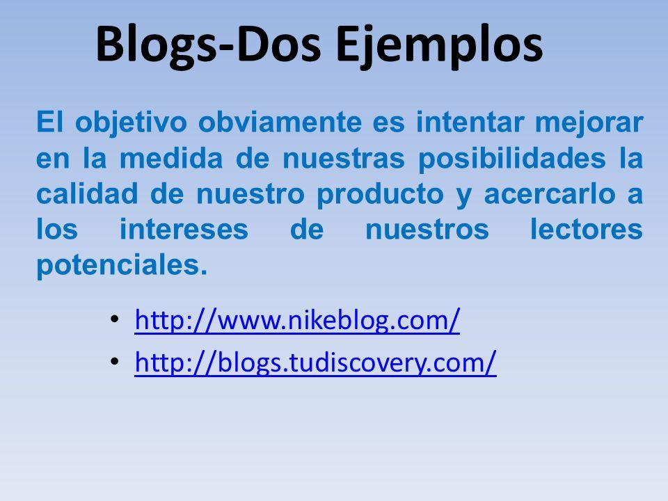 Blogs-Dos Ejemplos http://www.nikeblog.com/ http://blogs.tudiscovery.com/ El objetivo obviamente es intentar mejorar en la medida de nuestras posibili