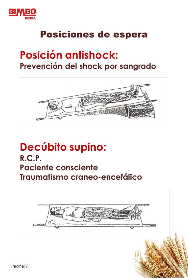 Página: 8 Posiciones de espera Posición semisentado: Dificultad respiratoria Posición piernas flexionadas: Lesiones abdominales