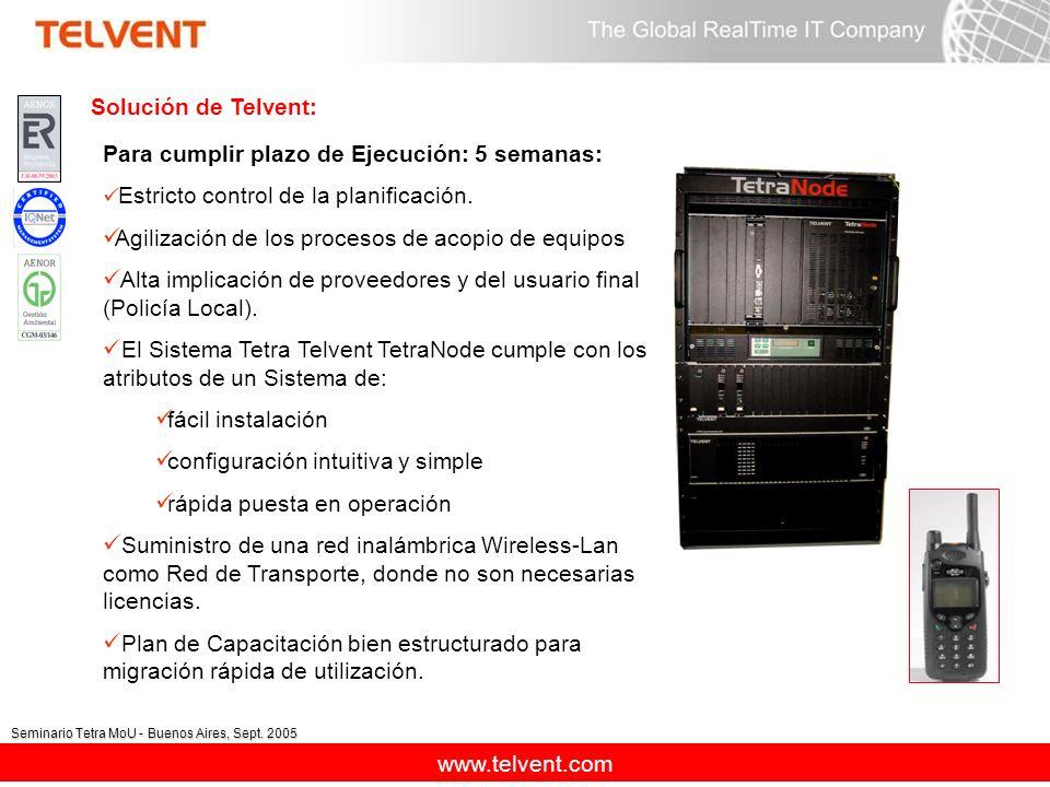 www.telvent.com Seminario Tetra MoU - Buenos Aires, Sept. 2005 Para cumplir plazo de Ejecución: 5 semanas: Estricto control de la planificación. Agili