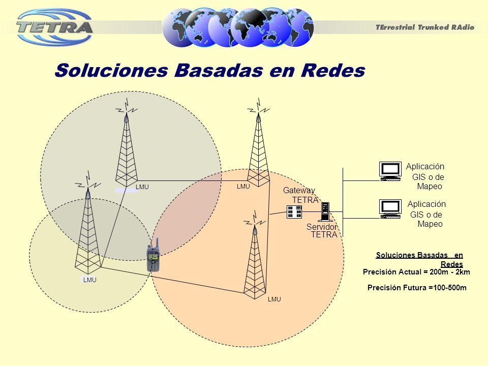 Soluciones Basadas en Redes LMU Radio tower Servidor TETRA Aplicación GIS o de Mapeo Aplicación GIS o de Mapeo Gateway TETRA LMU Soluciones Basadas en