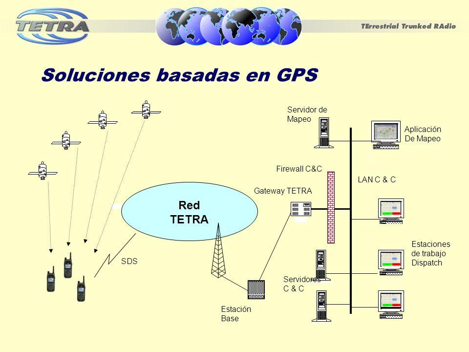 Soluciones basadas en GPS Estaciones de trabajo Dispatch Radio tower PBX Workstation Aplicación De Mapeo Red TETRA Workstation Servidor de Mapeo Estac