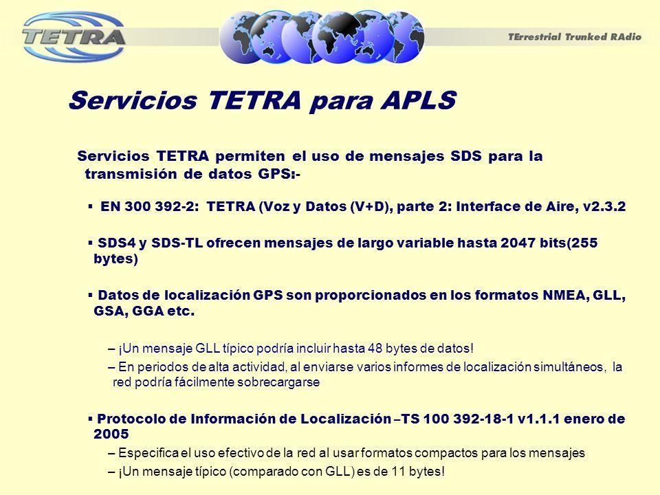 Servicios TETRA para APLS Servicios TETRA permiten el uso de mensajes SDS para la transmisión de datos GPS:- EN 300 392-2: TETRA (Voz y Datos (V+D), p