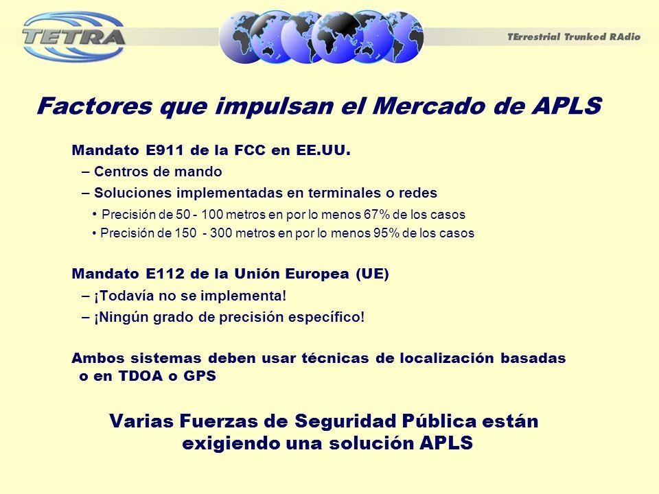 Factores que impulsan el Mercado de APLS Mandato E911 de la FCC en EE.UU. – Centros de mando – Soluciones implementadas en terminales o redes Precisió