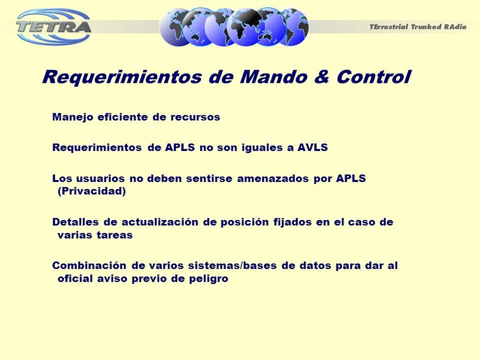 Requerimientos de Mando & Control Manejo eficiente de recursos Requerimientos de APLS no son iguales a AVLS Los usuarios no deben sentirse amenazados