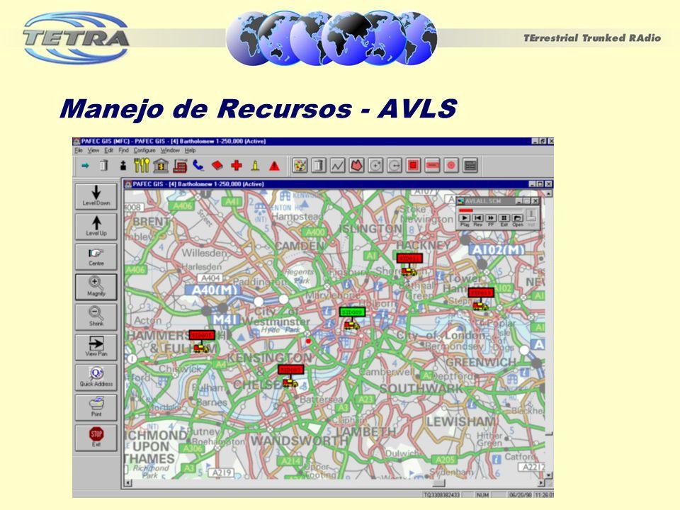 Servicios TETRA para APLS Servicios TETRA permiten el uso de mensajes SDS para la transmisión de datos GPS:- EN 300 392-2: TETRA (Voz y Datos (V+D), parte 2: Interface de Aire, v2.3.2 SDS4 y SDS-TL ofrecen mensajes de largo variable hasta 2047 bits(255 bytes) Datos de localización GPS son proporcionados en los formatos NMEA, GLL, GSA, GGA etc.