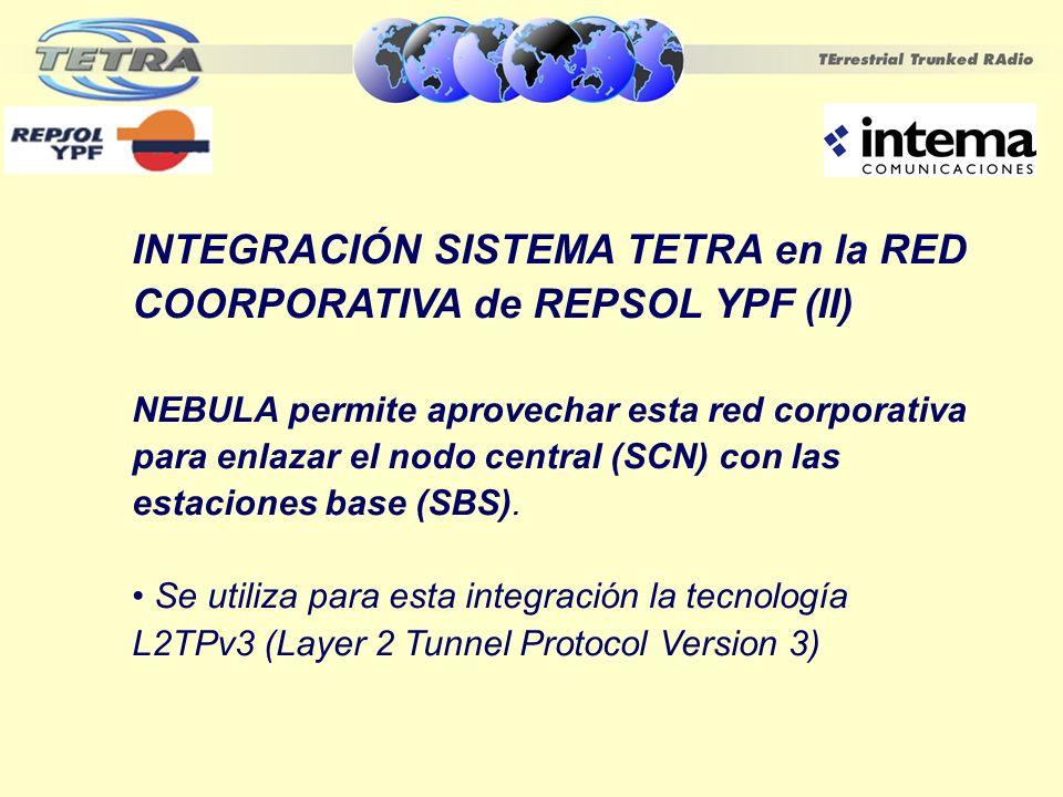 INTEGRACIÓN SISTEMA TETRA en la RED COORPORATIVA de REPSOL YPF (II) NEBULA permite aprovechar esta red corporativa para enlazar el nodo central (SCN)