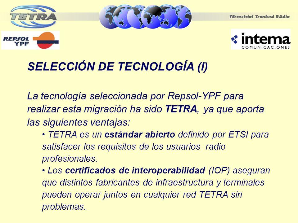 SELECCIÓN DE TECNOLOGÍA (II) Llamadas de grupo (voz, datos, DGNA, late-entry,) Alta seguridad en las comunicaciones Voz y datos simultáneos Funcionamiento DMO (modo directo entre terminales sin pasar por la infraestructura TETRA)