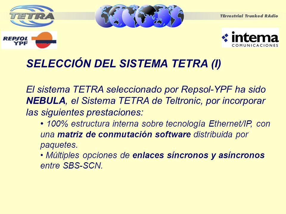 SELECCIÓN DEL SISTEMA TETRA (I) El sistema TETRA seleccionado por Repsol-YPF ha sido NEBULA, el Sistema TETRA de Teltronic, por incorporar las siguien