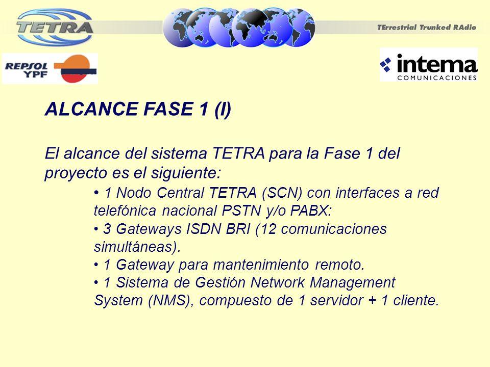 ALCANCE FASE 1 (I) El alcance del sistema TETRA para la Fase 1 del proyecto es el siguiente: 1 Nodo Central TETRA (SCN) con interfaces a red telefónic