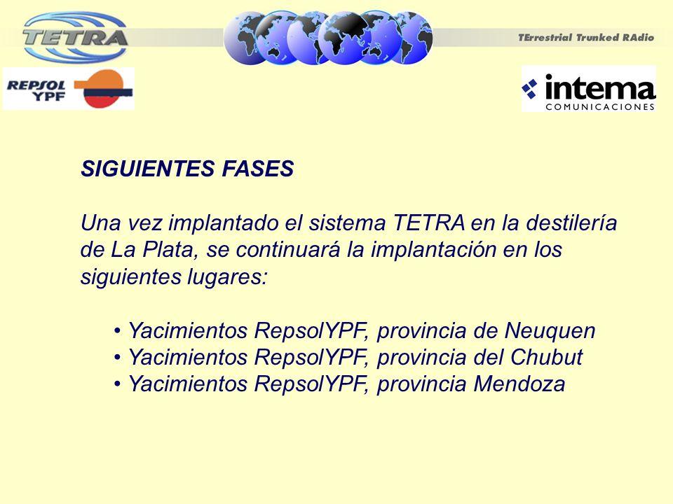 SIGUIENTES FASES Una vez implantado el sistema TETRA en la destilería de La Plata, se continuará la implantación en los siguientes lugares: Yacimiento