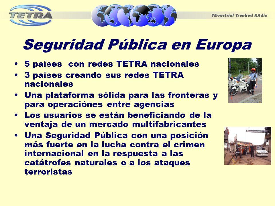 Seguridad Pública en Europa 5 países con redes TETRA nacionales 3 países creando sus redes TETRA nacionales Una plataforma sólida para las fronteras y