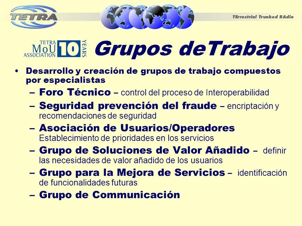 Grupos deTrabajo Desarrollo y creación de grupos de trabajo compuestos por especialistas –Foro Técnico – control del proceso de Interoperabilidad –Seg