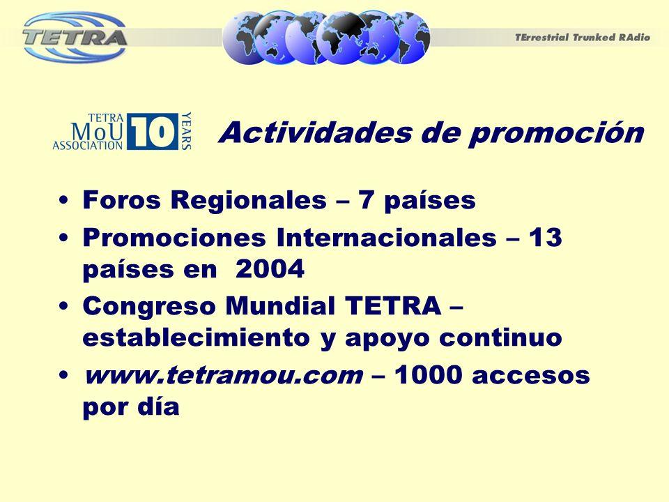 Actividades de promoción Foros Regionales – 7 países Promociones Internacionales – 13 países en 2004 Congreso Mundial TETRA – establecimiento y apoyo