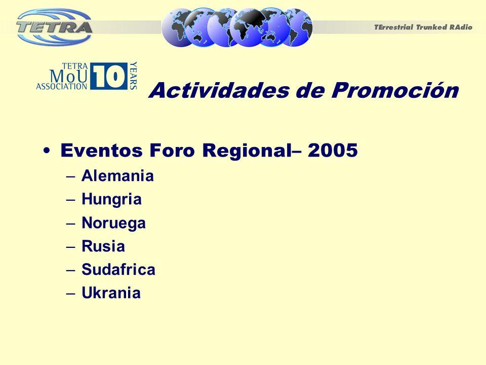 Actividades de Promoción Eventos Foro Regional– 2005 –Alemania –Hungria –Noruega –Rusia –Sudafrica –Ukrania