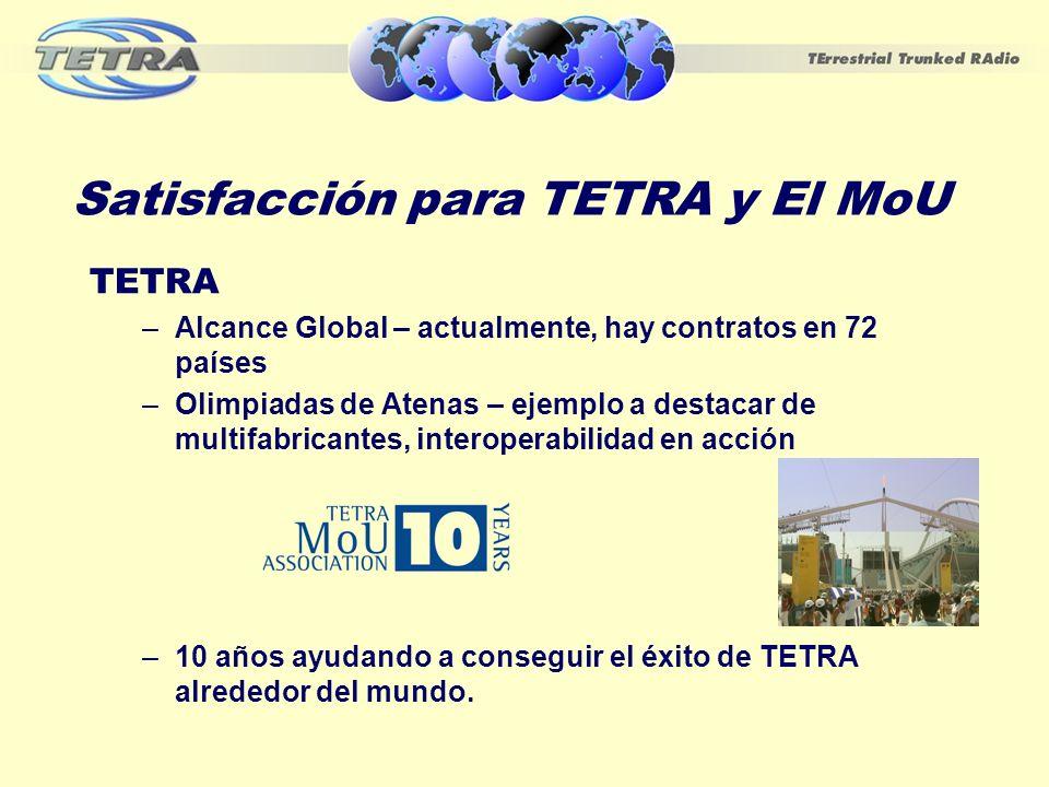 Éxito Global de TETRA Más de 700 contratos notificados TETRA ha sido elegido en más de un tercio de los países del mundo Sectores Principales - Seguridad Pública 48% y Transportes 24% Oriente Medio y América latina son actualmente las regiones de crecimiento más rápido