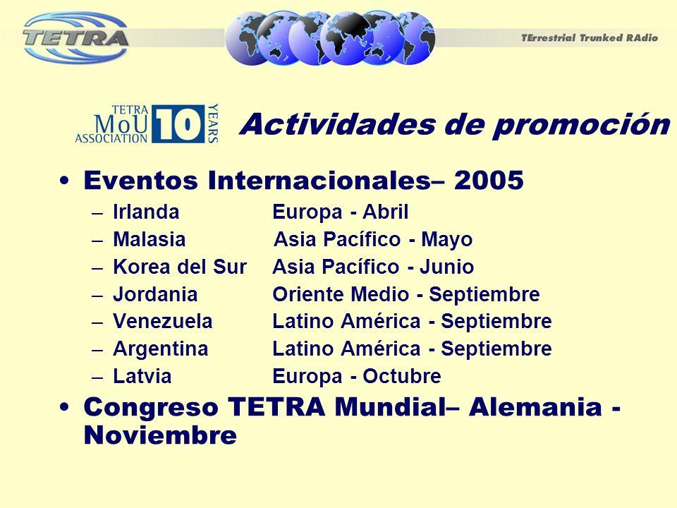 Actividades de promoción Eventos Internacionales– 2005 –Irlanda Europa - Abril –Malasia Asia Pacífico - Mayo –Korea del Sur Asia Pacífico - Junio –Jor