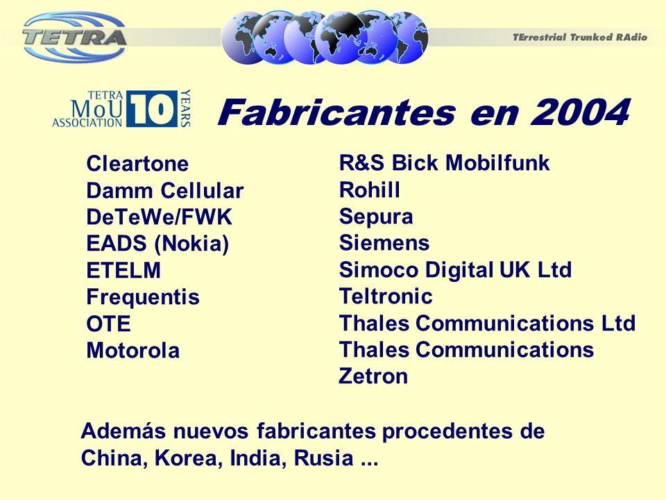 Fabricantes en 2004 Cleartone Damm Cellular DeTeWe/FWK EADS (Nokia) ETELM Frequentis OTE Motorola R&S Bick Mobilfunk Rohill Sepura Siemens Simoco Digi