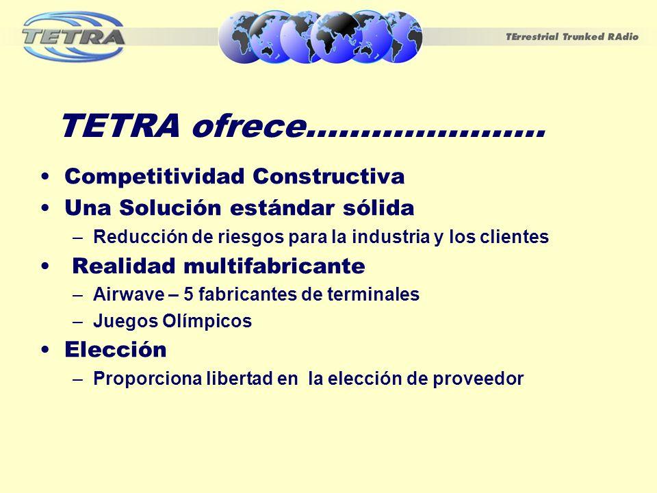 TETRA ofrece...................... Competitividad Constructiva Una Solución estándar sólida –Reducción de riesgos para la industria y los clientes Rea