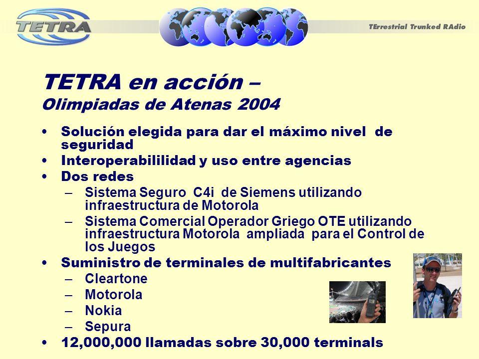 TETRA en acción – Olimpiadas de Atenas 2004 Solución elegida para dar el máximo nivel de seguridad Interoperabililidad y uso entre agencias Dos redes