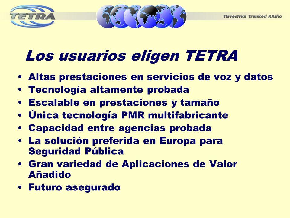 Los usuarios eligen TETRA Altas prestaciones en servicios de voz y datos Tecnología altamente probada Escalable en prestaciones y tamaño Única tecnolo