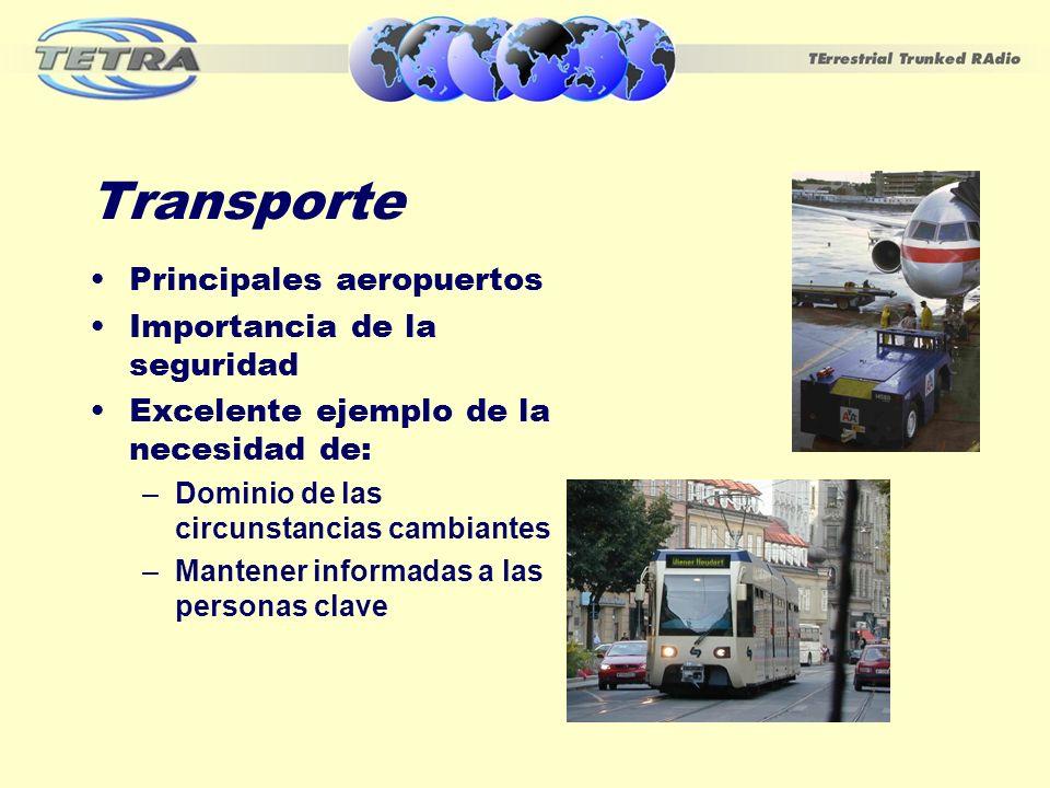 Transporte Principales aeropuertos Importancia de la seguridad Excelente ejemplo de la necesidad de: –Dominio de las circunstancias cambiantes –Manten