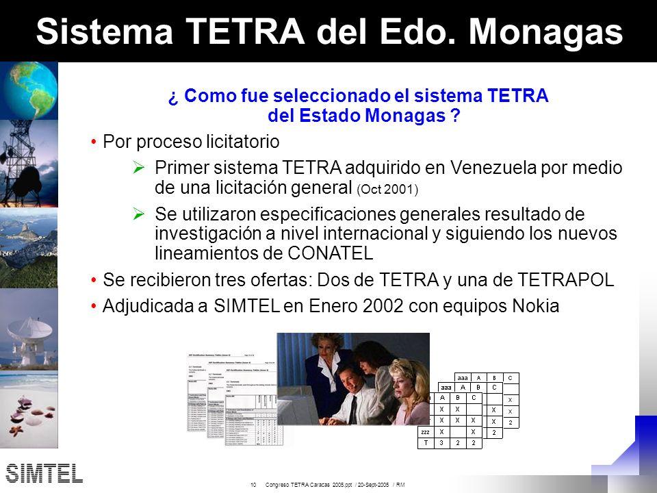 10 Congreso TETRA Caracas 2005.ppt / 20-Sept-2005 / RM Sistema TETRA del Edo. Monagas ¿ Como fue seleccionado el sistema TETRA del Estado Monagas ? Po