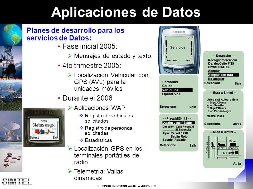 16 Congreso TETRA Caracas 2005.ppt / 20-Sept-2005 / RM 07 Aplicaciones de Datos Fase inicial 2005: Mensajes de estado y texto 4to trimestre 2005: Loca