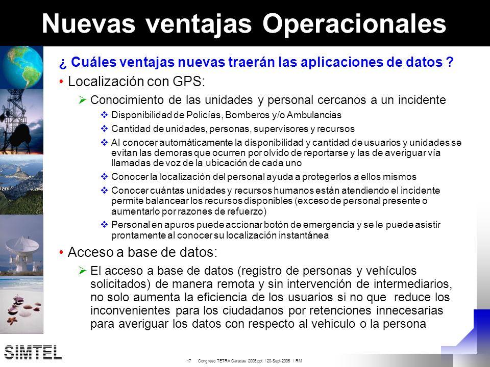 17 Congreso TETRA Caracas 2005.ppt / 20-Sept-2005 / RM Nuevas ventajas Operacionales ¿ Cuáles ventajas nuevas traerán las aplicaciones de datos ? Loca
