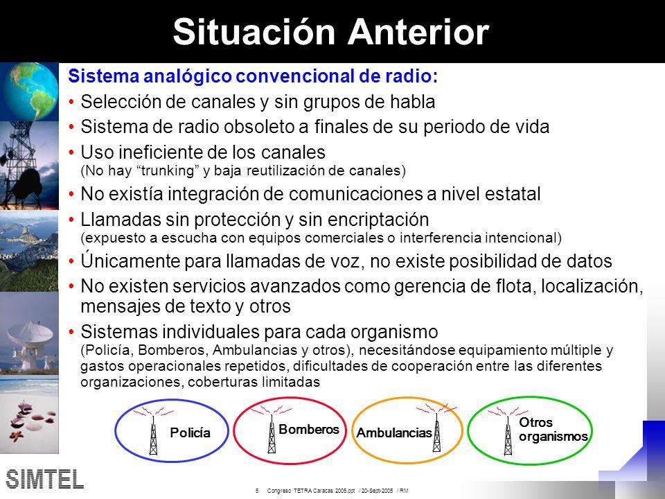 16 Congreso TETRA Caracas 2005.ppt / 20-Sept-2005 / RM 07 Aplicaciones de Datos Fase inicial 2005: Mensajes de estado y texto 4to trimestre 2005: Localización Vehicular con GPS (AVL) para la unidades móviles Durante el 2006 Aplicaciones WAP Registro de vehículos solicitados Registro de personas solicitadas Estadísticas Localización GPS en los terminales portátiles de radio Telemetría: Vallas dinámicas Planes de desarrollo para los servicios de Datos: