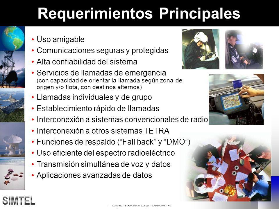 7 Congreso TETRA Caracas 2005.ppt / 20-Sept-2005 / RM Requerimientos Principales Uso amigable Comunicaciones seguras y protegidas Alta confiabilidad d