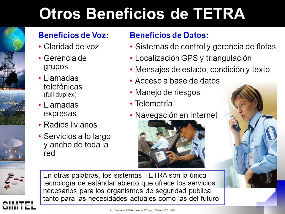 9 Congreso TETRA Caracas 2005.ppt / 20-Sept-2005 / RM Otros Beneficios de TETRA Beneficios de Voz: Claridad de voz Gerencia de grupos Llamadas telefón