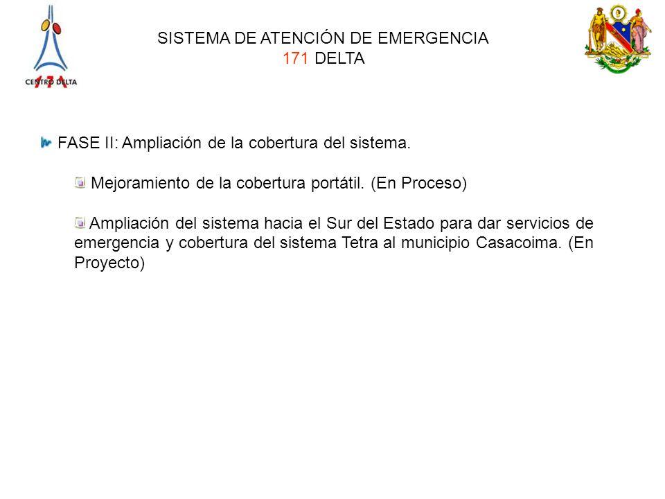 SISTEMA DE ATENCIÓN DE EMERGENCIA 171 DELTA FASE II: Ampliación de la cobertura del sistema. Mejoramiento de la cobertura portátil. (En Proceso) Ampli